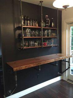 Wood Iron Industrial Shelve Bar/Top/Shelve Combo Shelf Storage Beer Wine Computer Desk Sold Together Bar & Shelve - 21 diy bar cheap ideas Diy Bar, Diy Home Bar, Pool Table Room, Dining Room Bar, Pool Tables, Dining Tables, Entry Tables, Bar Shelves, Wall Bar Shelf