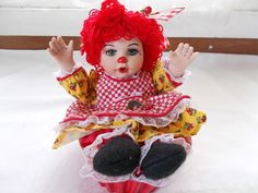 Marie Osmond Cherry Muffin Rag A Muffin Doll COA + Doll Necklace + Muffin Cup #MarieOsmond #DollswithClothingAccessories