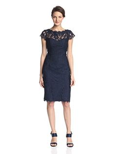 www.myhabit.com : Monique Lhuillier ML Lace Sheath Dress This elegant short sleeve lace dress has a cut-out back accent, scalloped neckline, full lining and invisible zipper closure on back