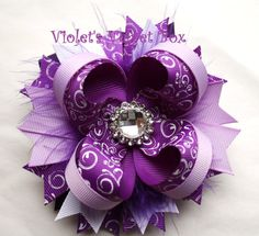 Boutique Bow Purple Hair Bow Luxurious by VioletsVelvetBox on Etsy, $8.99