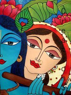 Radha And Krishna Paper Art Wallpaper Madhubani Art, Madhubani Painting, Krishna Painting, Krishna Art, Radhe Krishna, Lord Krishna, Mural Painting, Fabric Painting, Indian Folk Art