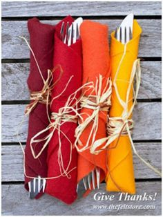 Colorful Fall Kitchen Napkin Rolls - Quick and Easy Fall Kitchen Decor Idea. Fall decor is fun and easy!