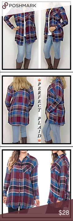 """Lightweight Plaid Button Down Shirt S L Perfect Plaid striped in Tunic Length. Long enough to wear with leggings or your favorite jeans. Great layering piece to wear buttoned or unbuttoned. Lightweight, soft rayon in maroon/burgundy/slate blue/ivory/S M L  Measurements laying flat: Small Chest 19"""" Length 30"""" Medium Chest 20"""" Length 30.5"""" Large Chest 21"""" Length 31"""" Tops Button Down Shirts"""