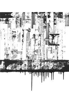 KH dessin au feutre noir , architecture et construction comme un tableau…