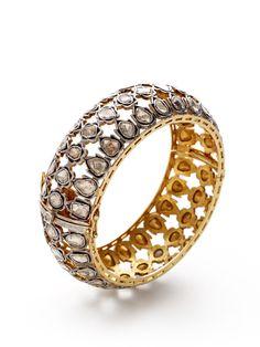 Two-Tone & Diamond Cutout Bangle Bracelet by Amrapali at Gilt