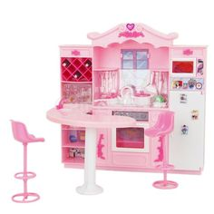 Barbie Doll Furniture Toy Full Kitchen with Refrigerator Play Set