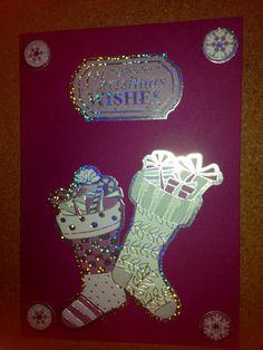 Handmade purple Christmas stocking card made using kanban pieces
