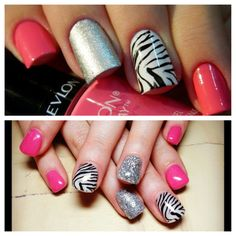 Gel nails.. I like the zebra and red but not with the silver..