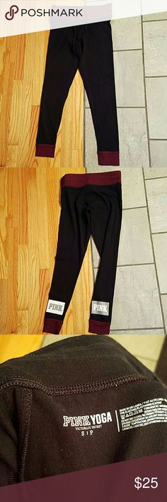 Pink yoga pants Mint condition,  has small hole in right side of pant, around the knee, other than that these are good condition PINK Victoria's Secret Pants