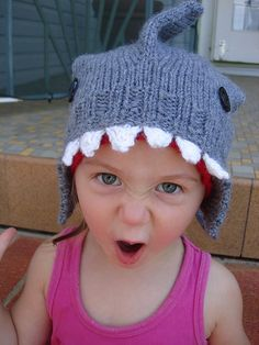 """In honor of """"Shark Week"""" of course... How-To: Knit a Shark Hat"""