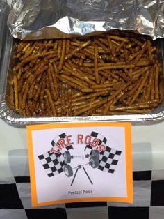 Tire rods. Pretzel sticks for scouts pinewood derby snacks.