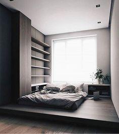 Black tiny bedroom with podium bed #дизайн #интерьер #дизайн #интерьер #дизайндома #дизайн #дизайнинтерьера #интерьер…»