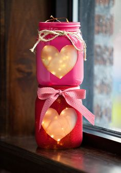 Frosted heart windows mean these adorable jars emit a soft glow.