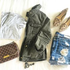 leopard print flats, ripped boyfriend shorts, rag and bone boyfriend shorts, made well tee, louis vuitton favorite bag dammer, utility jacket military green, emily gemma instagram