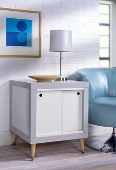 DIY End Table Made with Two IKEA Lack Tables for Under $60