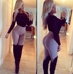 What a sexy outfit - high waist pants, thigh high boots and top...!