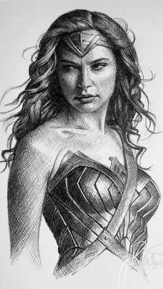 Pencil Portrait Drawing, Realistic Pencil Drawings, Portrait Sketches, Pencil Art Drawings, Cartoon Drawings, Art Sketches, Wonder Woman Drawing, Wonder Woman Art, Gal Gadot Wonder Woman