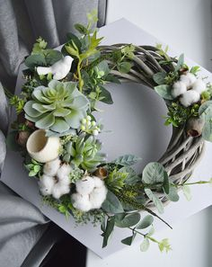 Summer Greenery Succulents Cotton Wreaths for Front Door FarmHouse Gift Wreath Birds Nest Decor Spring Door Wreaths, Summer Wreath, Wreaths For Front Door, Dried Flower Wreaths, Dried Flowers, Easter Gift, Easter Crafts, Welcome Signs Front Door, Cotton Wreath