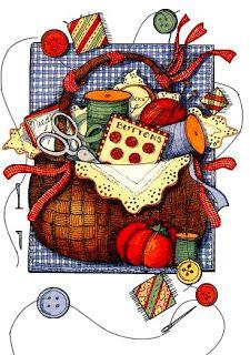 dibujos coloreados cestos de costura-Imagenes y dibujos para imprimir