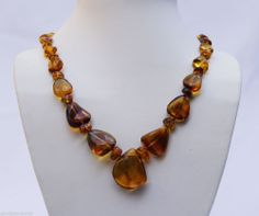 NEW DOMINICAN MARBLED FREE-SHAPED FOSSIL RED AMBER .925 SILVER NECKLACE JEWELRY