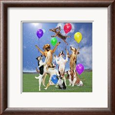 Dogs partying Framed Art Print