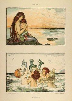 1904 Lithograph Art Nouveau Mermaid and Merchildren Sea Mermaid Illustration, Illustration Art, Illustrations, Fantasy Mermaids, Mermaids And Mermen, Art Koi, Art Nouveau, Mermaid Tale, Vintage Mermaid