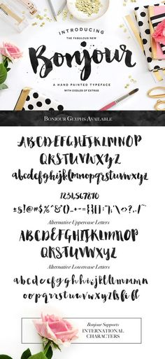Check out Bonjour! Love this hand brushed, brush lettering calligraphy font. Modern and, well, PERFECT. LOVE!: