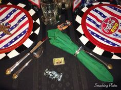 The Sunday before Memorial Day is always a day I spend in front of the TV watching motorsports. The day always starts with breakfast watch. Party Themes, Party Ideas, Memorial Day, Tablescapes, Race Cars, Monster Trucks, Racing, Plates