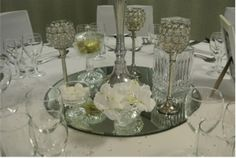 Silver and white table decor