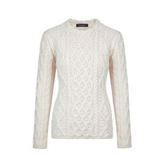 Ladies Lattice Cable Lambay Sweater, made in Ireland by Ireland's Eye Knitwear. Available on www.omaille.com