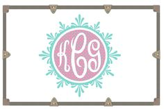 Yeti Decal/ Camp Trunk Decals/ Vinyl Sticker/ Fancy Circle Decorative Monogram/Monogram Decal by RusticGraceCo on Etsy