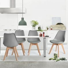 DSW Eames Chairs MidCentury Modern Upholstered Fabric Dining Chair with Solid Wood Legs Sets of 4 (Grey ) : Dining Chairs - Best Buy Canada Fabric Dining Chairs, Solid Wood Dining Chairs, Upholstered Dining Chairs, Dining Chair Set, Chair Upholstery, Cool Chairs, Side Chairs, Eames Chairs, Rattan Chairs