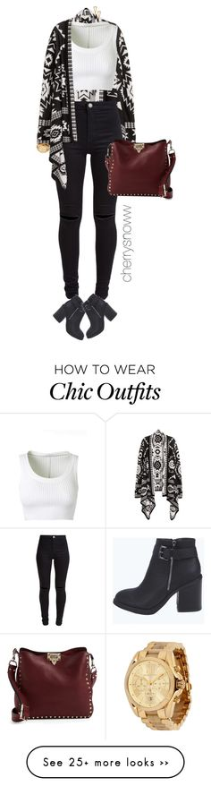 """Casual chic black and white + burgundy"" by cherrysnoww on Polyvore featuring moda, H&M, Alaïa, New Look, Valentino, Boohoo, Michael Kors e Gorjana"