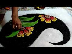 Easy and beautiful Poster Rangoli design by Krishnas Rangoli Tricks. Rangoli Designs Peacock, Rangoli Designs Latest, Simple Rangoli Designs Images, Rangoli Border Designs, Rangoli Patterns, Colorful Rangoli Designs, Rangoli Ideas, Rangoli Designs Diwali, Beautiful Rangoli Designs