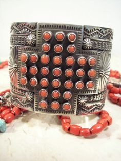 Sunshine Reeves Old Santa FE Style Red Coral Cross Cuff Bracelet SS 117 8g | eBay