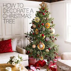 The secret to a pretty Christmas tree is decorating in layers. Get more tips for Christmas tree decorating with these easy instructions from the experts./