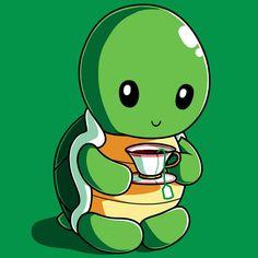 Get the green Tea Turtle t-shirt only at TeeTurtle! Cute Turtle Drawings, Cute Turtle Cartoon, Cute Cartoon Drawings, Cute Cartoon Animals, Cute Animal Drawings, Cartoon Pics, Cute Cartoon Wallpapers, Cartoon Art, Cute Animals