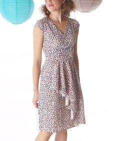 Love this Pink & Blue Jin Ju Ruffle Cap-Sleeve Dress - Women by Mata Traders on #zulily! #zulilyfinds