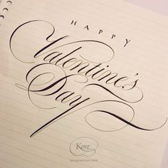 English Roundhand, Copperplate, Valentine's Day Copperplate Calligraphy, Calligraphy Cards, Calligraphy Envelope, Happy Valentines Day Calligraphy, Write On Glass, E Greetings, Fortnum And Mason, Addressing Envelopes, Creative Director