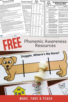 Free phonemic awareness activities and phonemic awareness handouts for parents and teachers. Help parents and teachers understand the importance of phonemic awareness in learning to read. Ideas for sound isolation, segmenting and blending! Phonemic Awareness Kindergarten, Phonological Awareness Activities, Kindergarten Reading Activities, Rhyming Activities, Phonics Games, Teaching Reading, Kindergarten Phonics, Preschool, Jolly Phonics