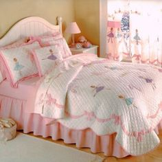 AM 3 Piece Kids Girls Pink Purple White Full Queen Quilt Set, Ballet Themed Bedding Dance Beautiful Dancing Ruffled Cute Adorable Stylish Sweet Pretty Elegant Ballerina Bows Cheery, Cotton, Polyester Kids' Bedding Sets & Collections Girls Bedroom, Bedroom Decor, Bedrooms, Bedroom Sets, Ballerina Bedroom, Queen Bedding Sets, Girl Bedding, Chic Bedding, Ruffle Bedding