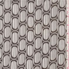 White/Brown Print Charmeuse - Fabric By The Yard