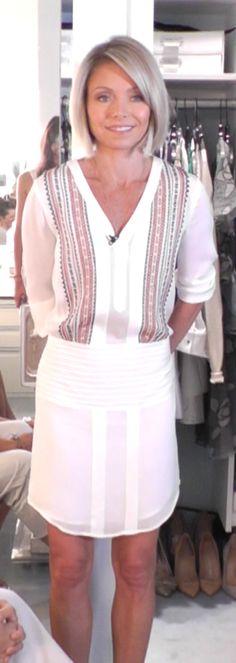 Kelly RIpa in a Veronica Beard dress from Intermix.