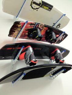 a metal kiteboard storage rack