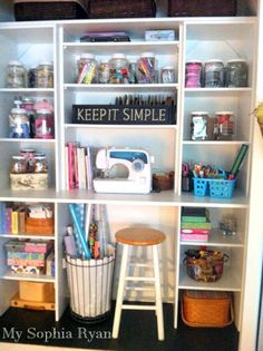 A standard closet transformed into a craft work station by mysophiaryan.com. #ClutterFree #CraftRoom