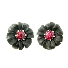 ALETTO BROTHERS Black Onyx, Ruby and Diamond Flower Earrings. | From a unique collection of vintage clip-on earrings at http://www.1stdibs.com/earrings/clip-on-earrings/
