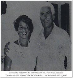 """Lucinda e Alberto Chã comemoram os 25 anos de casados. Coluna do Gil """"Gente"""" do A Crítica de 23 de março de 1984"""