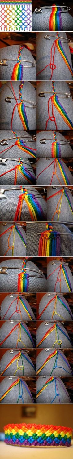 How to DIY Weave Rainbow Color Baubles Bracelet #craft #fashion #bracelet