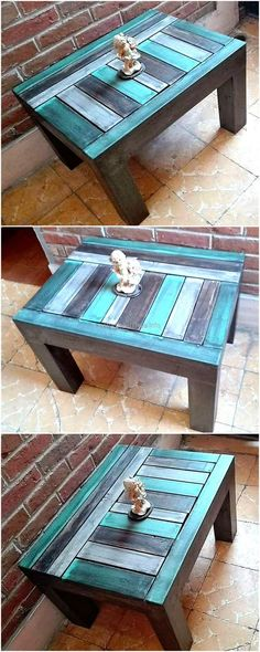 This is an idea for the side table, it is painted with different shades of blue. Black color is also used for painting it and every color is complementing the other. It is simple to copy and will not take many days in completion, managing a few hours is enough to copy this idea.