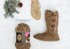Learn how to make UGG-style crochet boots with flip flop soles in Part 1 of this free crochet pattern and video tutorial. Super comfy slippers or outdoor shoes!